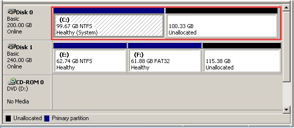 extend system partition dm