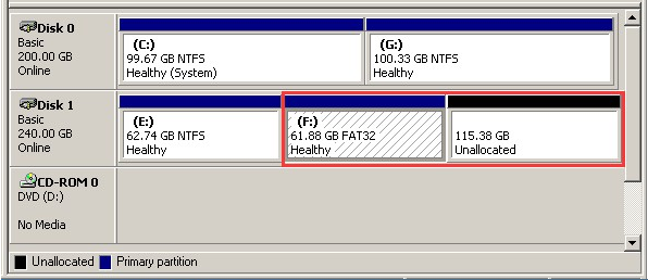 extend fat32 partition dm