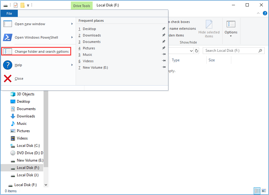 choose Change folders and search options