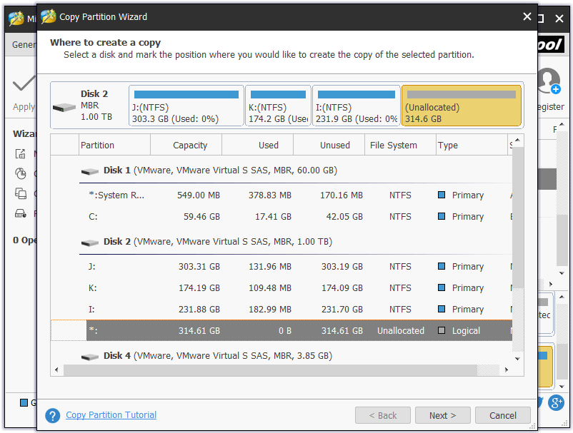 choose unallocated space on a basic disk