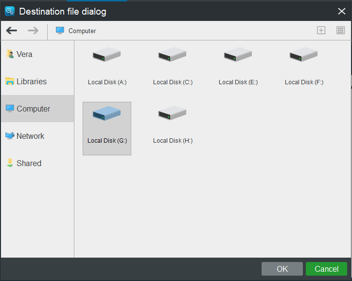 choose a storage path for the created system image
