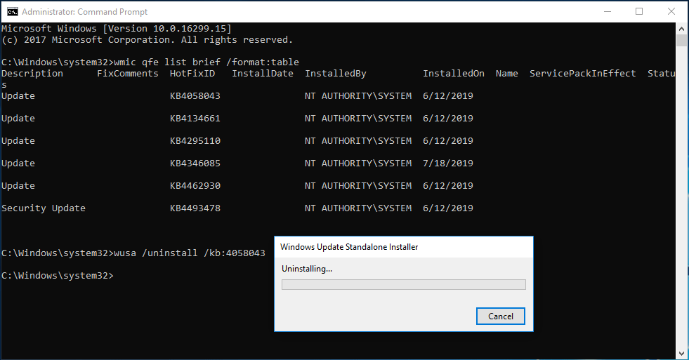 uninstall Windows 10 update command prompt