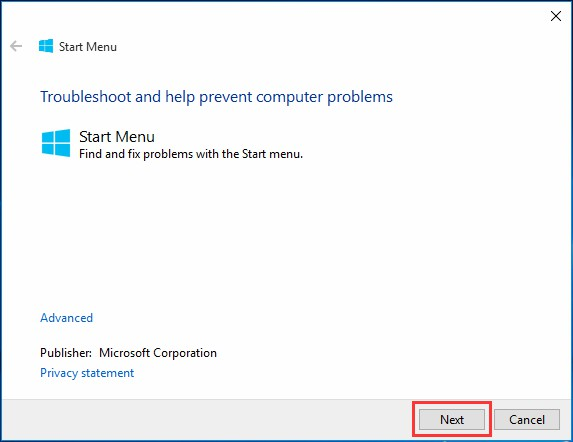 win10 start menu troubleshooter