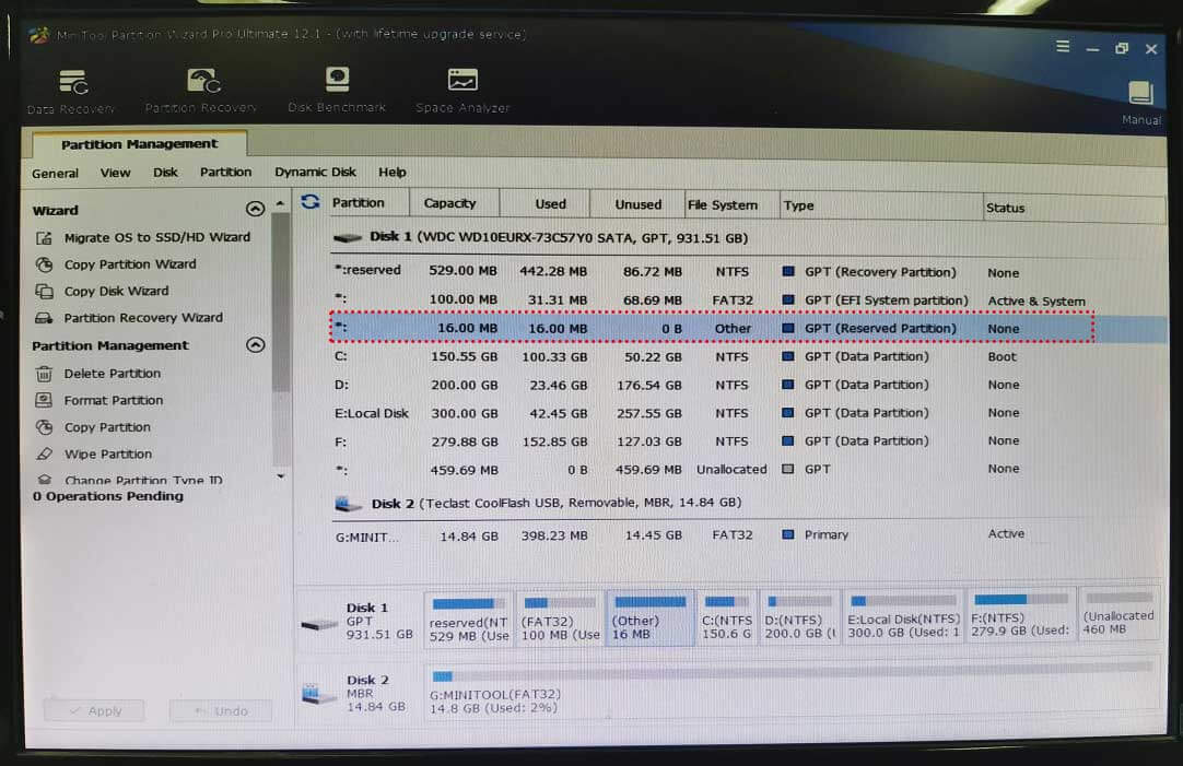 the main interface of MiniTool Partition Wizard bootable media