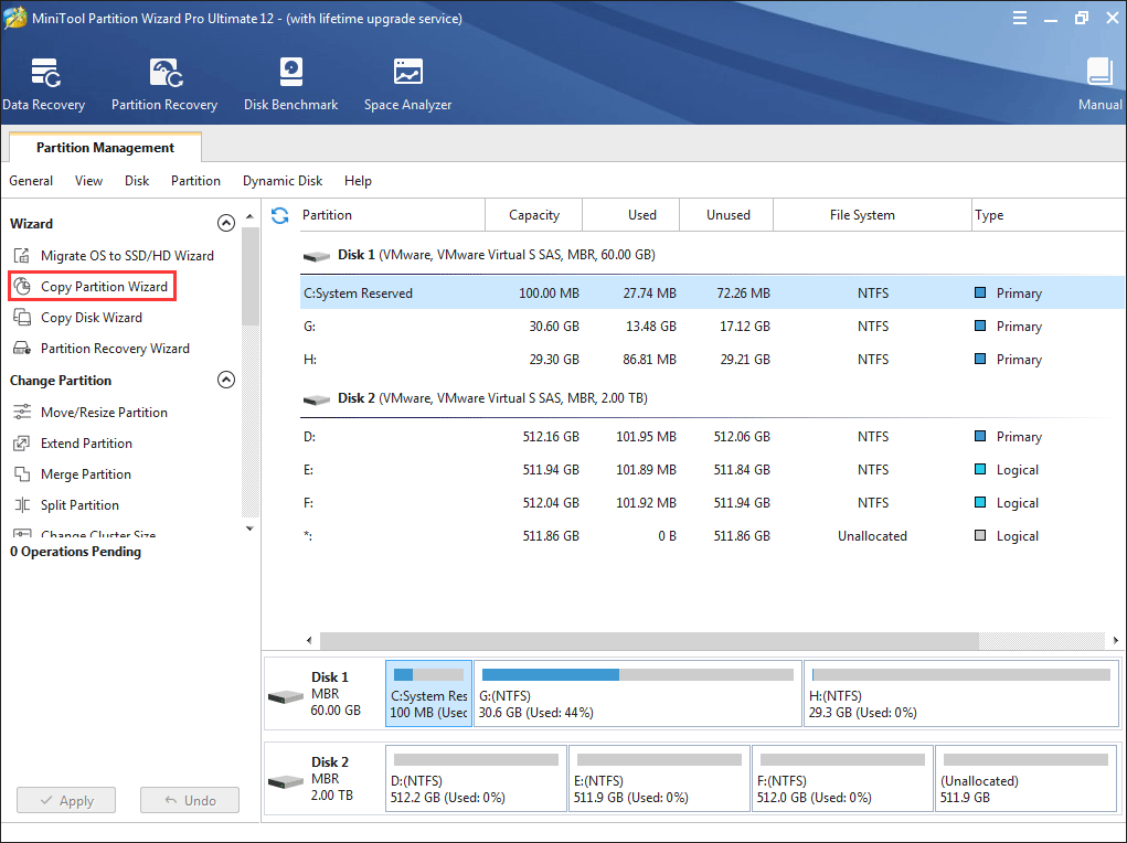 click the Copy Partition Wizard feature from the left panel