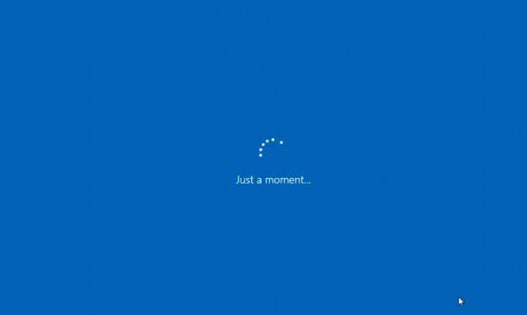a blue screen with spinning dots