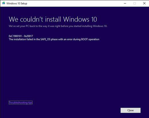 Windows 10 blue screen error code C1900101-20017