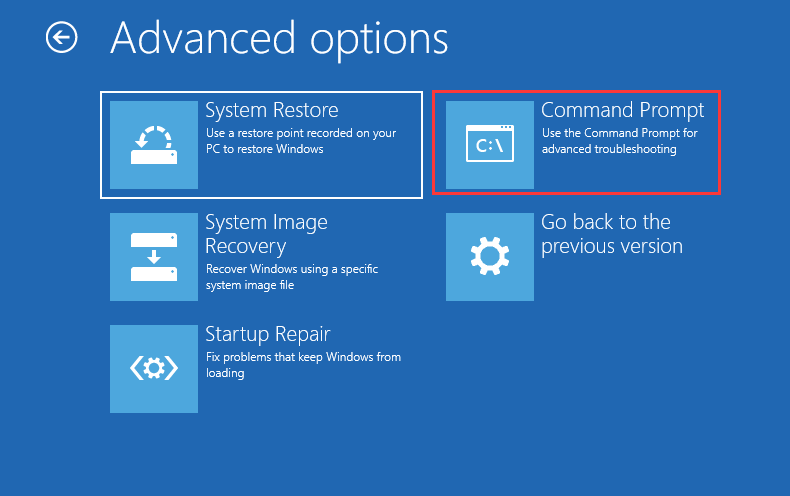 Command Prompt in Advanced options page