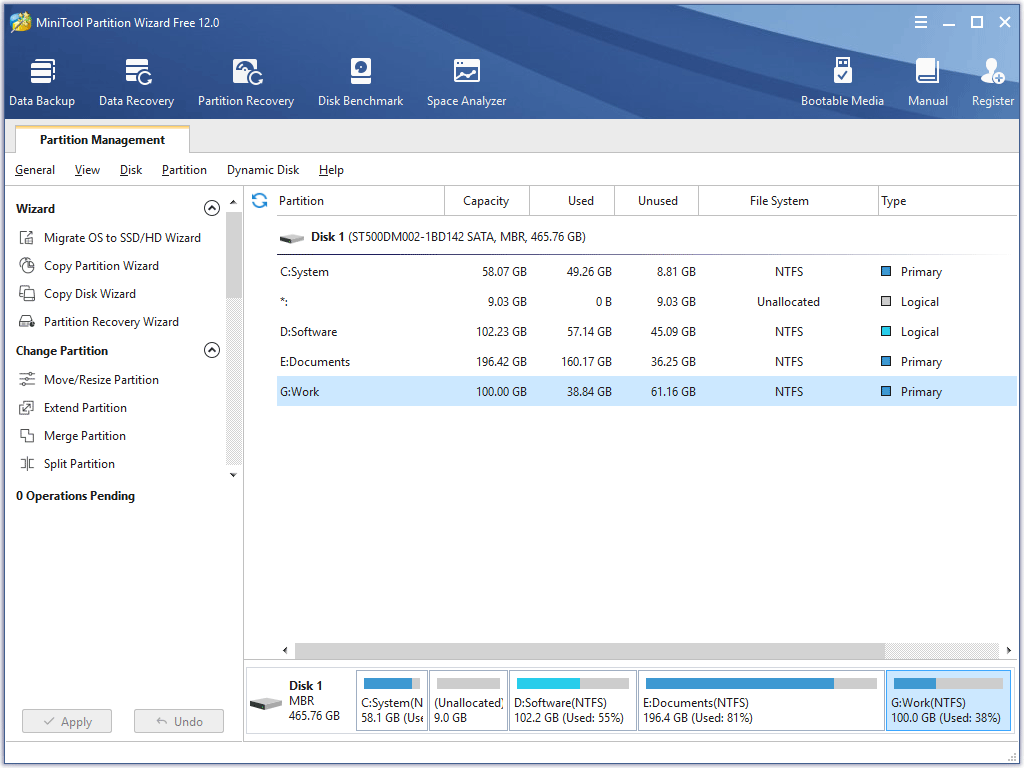 the main interface of MiniTool Partition Wizard Free Edition