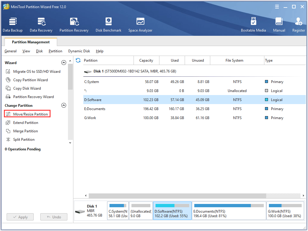 activate the Move/Resize Partition feature