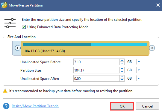 determine the location and size of the selected partition