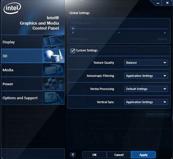 Intel Graphics and Media Control Panel