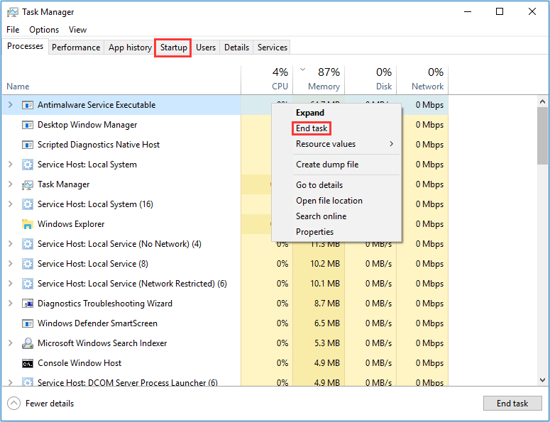 close processes in Task Manager