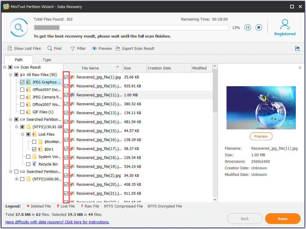 preview files and select the files you need