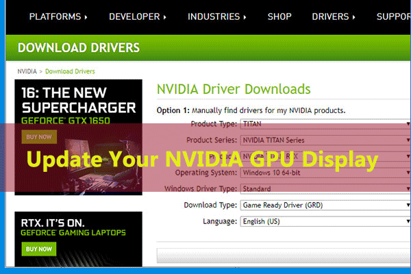 update nvidia gpu display driver windows thumbnail