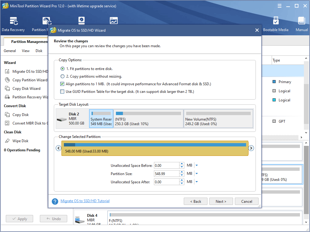 choose right copy options and adjust the target disk layout