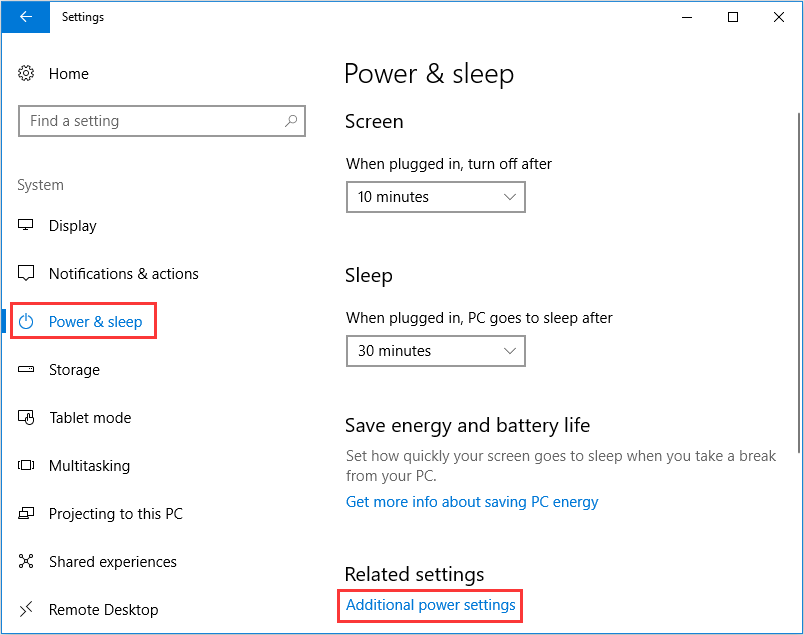 choose Additional power settings