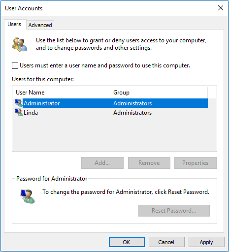 Uncheck Users must enter a username and password to use this computer