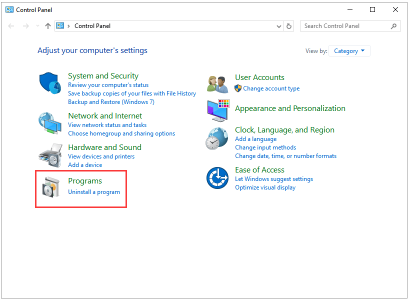 select Programs on the Control Panel window