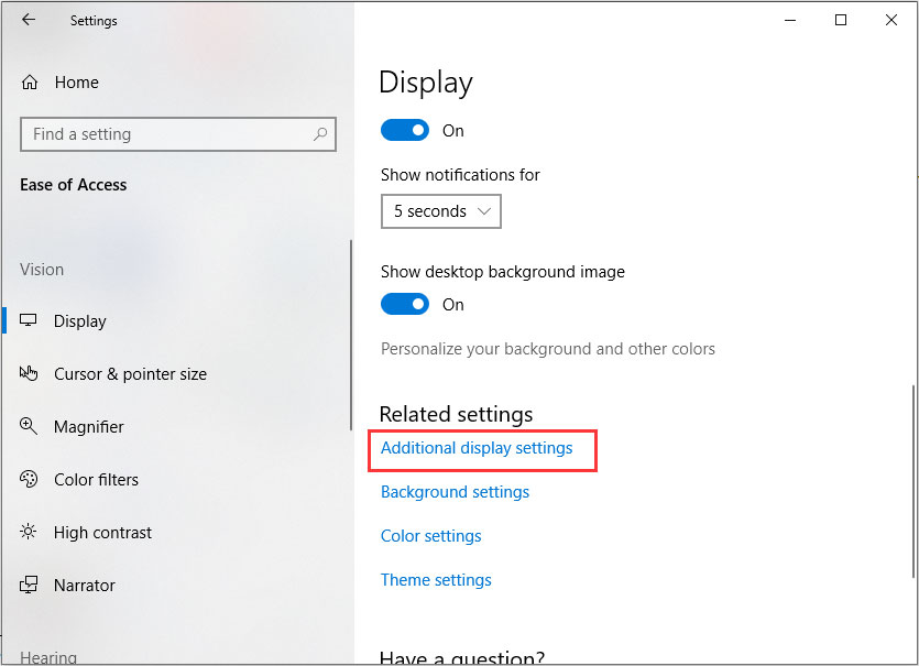 click on additional display settings