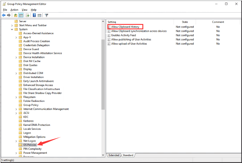 Change Settings in Group Policy Editor Windows to fix Clipboard History Not Working