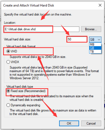 specify the virtual hard disk location on the machine