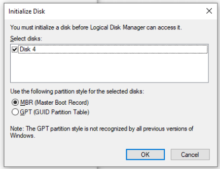 initialize disk as MBR partition style