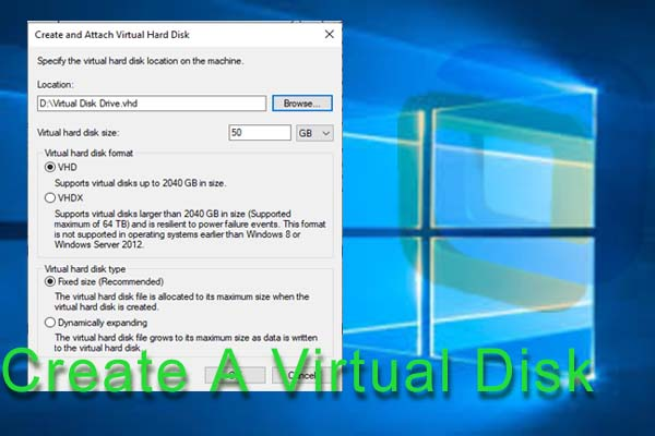 Virtual disk can be used to store the files