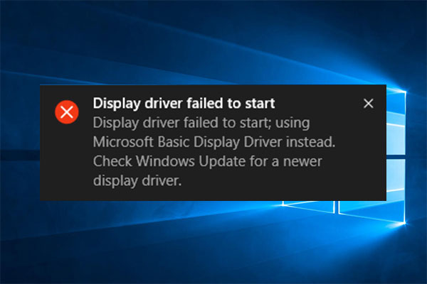 display driver failed to start thumbnail
