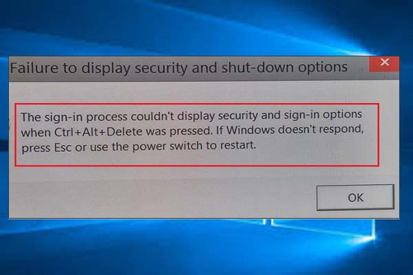 failure to display security and shutdown options thumbnail