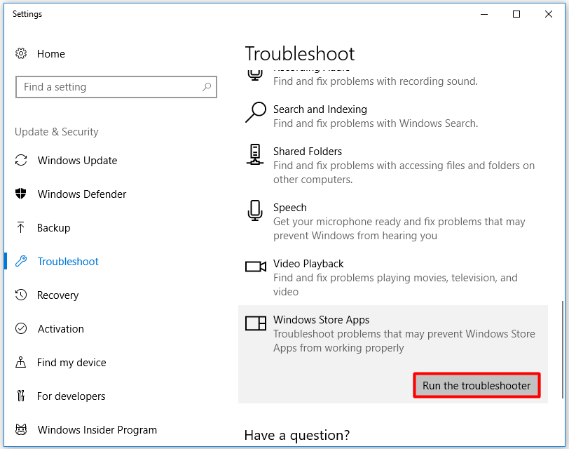 run Windows Store Apps as troubleshooter
