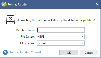set for the formatted partition