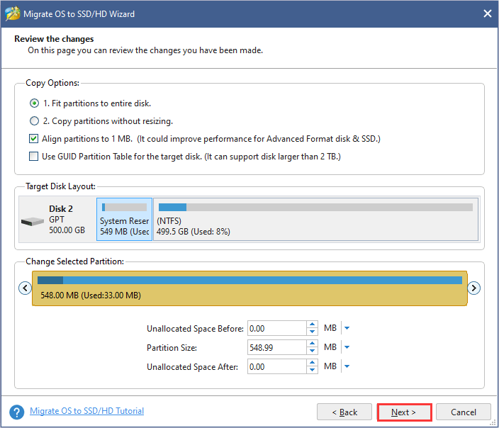 Choose copy method and make changes for the selected partition