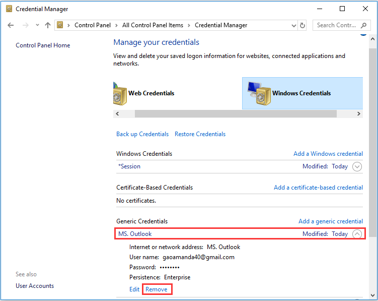 remove credentials that have Outlook in the name