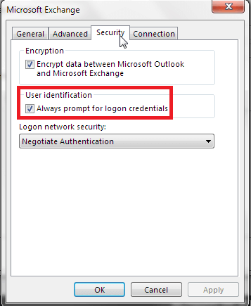 uncheck Always prompt for logon credentials
