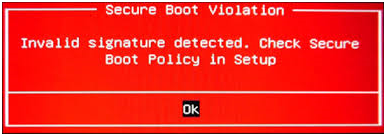 the secure boot violation error