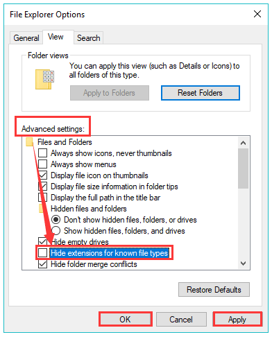 uncheck the Hide extensions for known types option