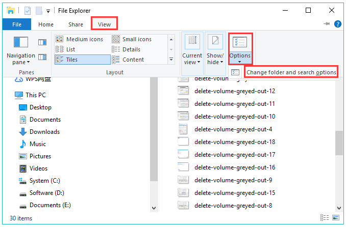 click change folder and search option