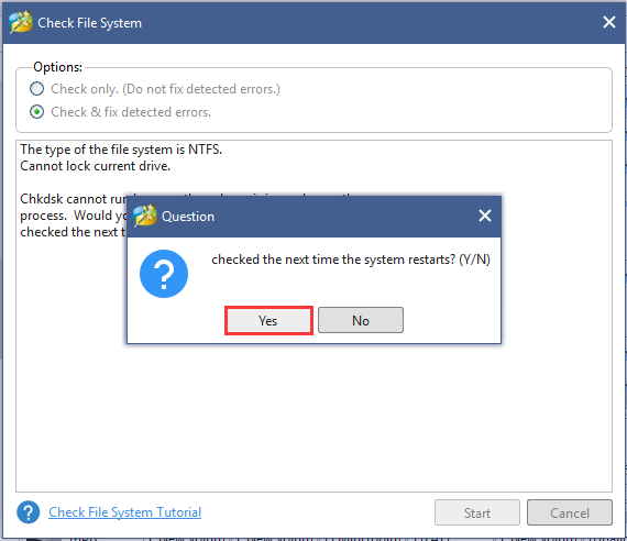 click Yes to repair system files during the restating process