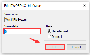 set the value data of Win31FileSystem DWORD as 0