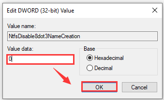 set the value data as 0 and click OK