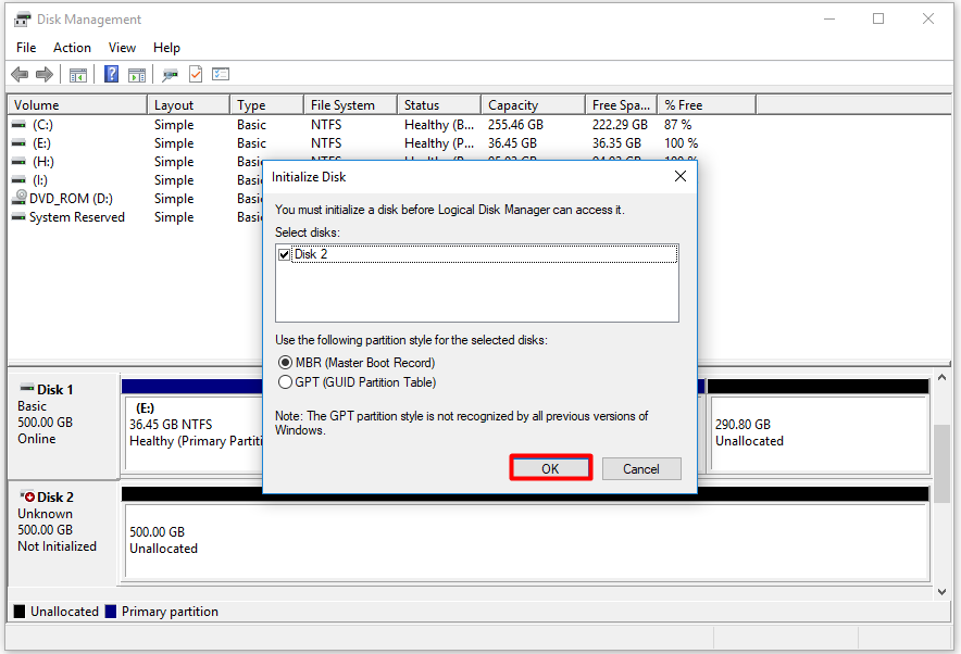 choose disk initialization settings