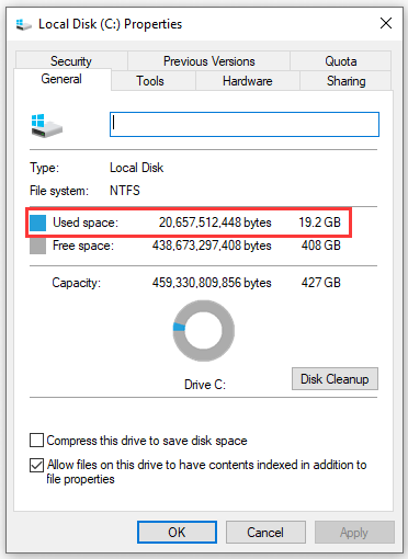 wrong hard disk free space