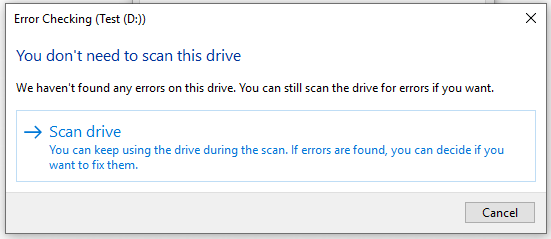 click on Scan drive