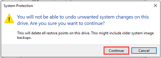 delete all restore points on this drive
