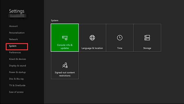 navigate to the system of Xbox