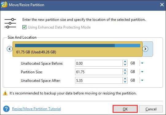resize the selected partition
