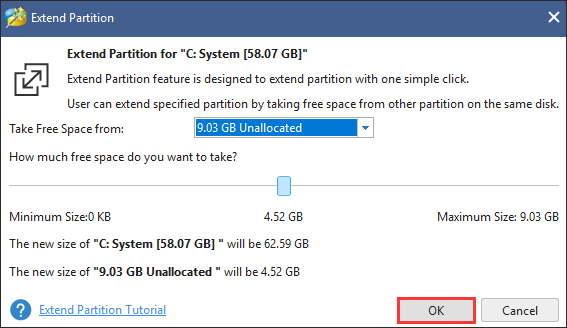 take free space from other partition or unallocated space