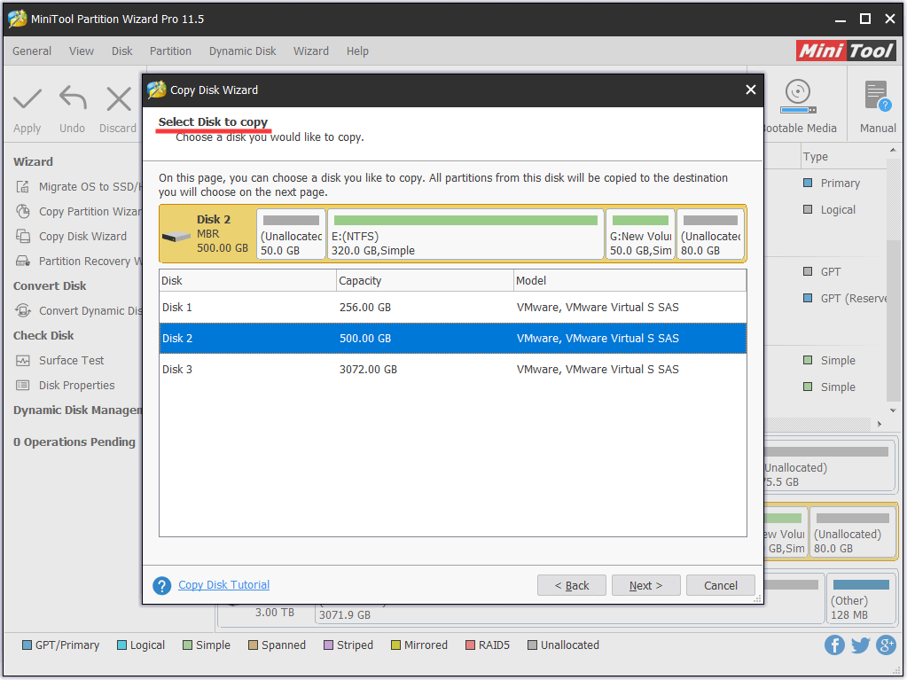 select dynamic disk as source disk
