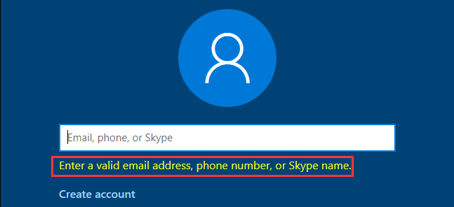 fail to create an account